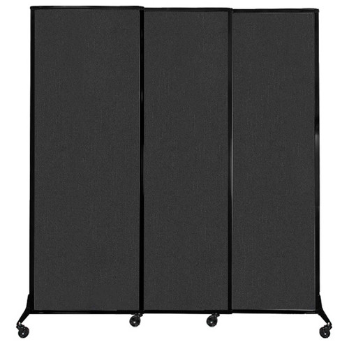 """QuickWall Sliding Portable Partition 7' x 7'4"""" Black Fabric"""