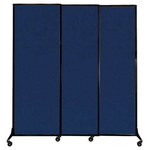 "QuickWall Sliding Portable Partition 7' x 7'4"" Navy Blue Fabric"