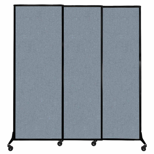 "QuickWall Sliding Portable Partition 7' x 7'4"" Powder Blue Fabric"