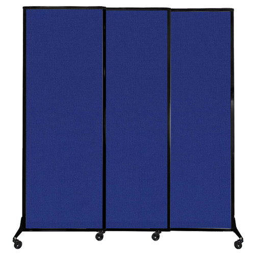 "QuickWall Sliding Portable Partition 7' x 7'4"" Royal Blue Fabric"