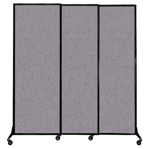 "QuickWall Sliding Portable Partition 7' x 7'4"" Cloud Gray Fabric"