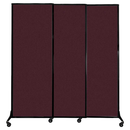 "QuickWall Sliding Portable Partition 7' x 7'4"" Cranberry Fabric"
