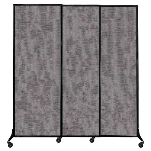 """QuickWall Sliding Portable Partition 7' x 7'4"""" Slate Fabric"""