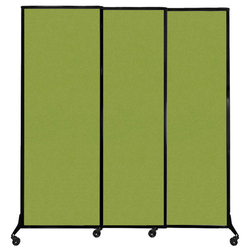 """QuickWall Sliding Portable Partition 7' x 7'4"""" Lime Green Fabric"""