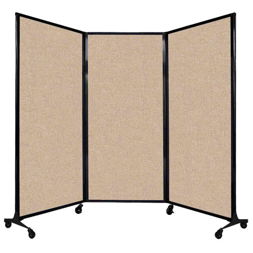 """QuickWall Folding Portable Partition 8'4"""" x 5'10"""" Beige Fabric"""