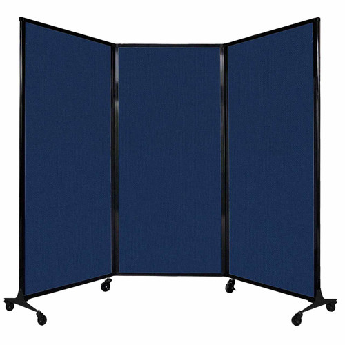 "QuickWall Folding Portable Partition 8'4"" x 5'10"" Navy Blue Fabric"