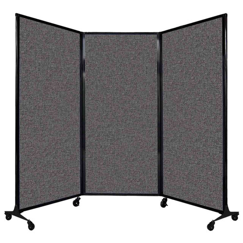 "QuickWall Folding Portable Partition 8'4"" x 5'10"" Charcoal Gray Fabric"