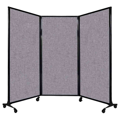"QuickWall Folding Portable Partition 8'4"" x 5'10"" Cloud Gray Fabric"