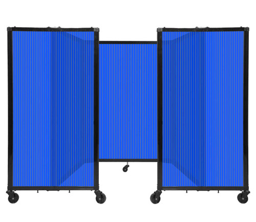 "Room Divider 360 Folding Portable Partition 8'6"" x 4' Blue Fluted Polycarbonate"