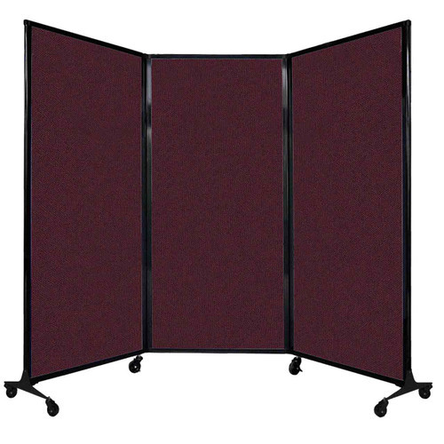 """QuickWall Folding Portable Partition 8'4"""" x 5'10"""" Cranberry Fabric"""