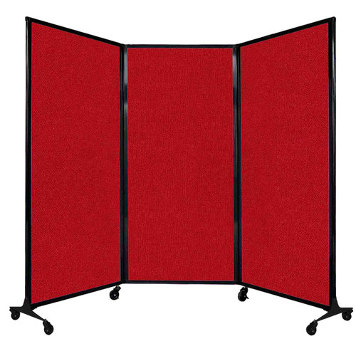 """QuickWall Folding Portable Partition 8'4"""" x 5'10"""" Red Fabric"""