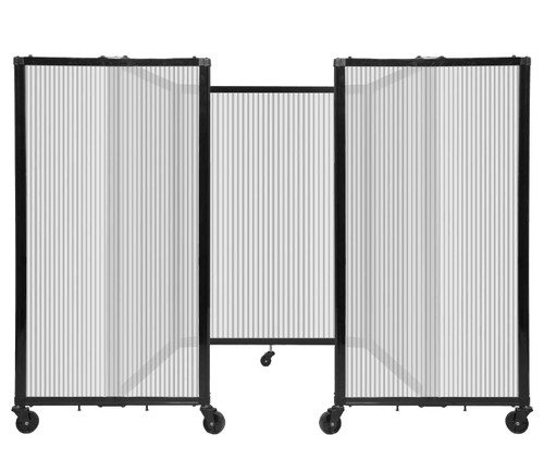 """Room Divider 360 Folding Portable Partition 8'6"""" x 4' Clear Fluted Polycarbonate"""
