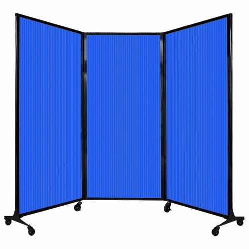 "QuickWall Folding Portable Partition 8'4"" x 5'10"" Blue Polycarbonate"