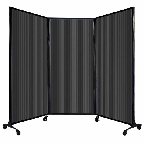 "QuickWall Folding Portable Partition 8'4"" x 5'10"" Dark Gray Polycarbonate"