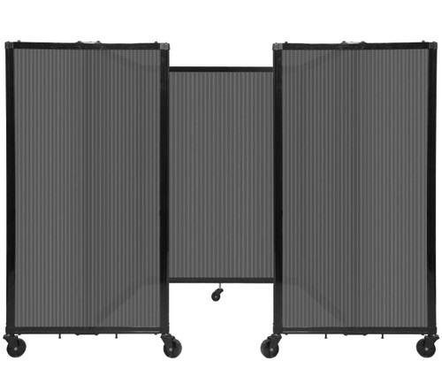 """Room Divider 360 Folding Portable Partition 8'6"""" x 4' Dark Gray Fluted Polycarbonate"""