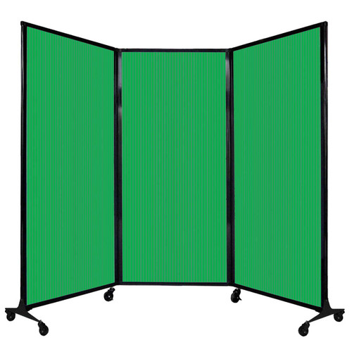 "QuickWall Folding Portable Partition 8'4"" x 5'10"" Green Polycarbonate"