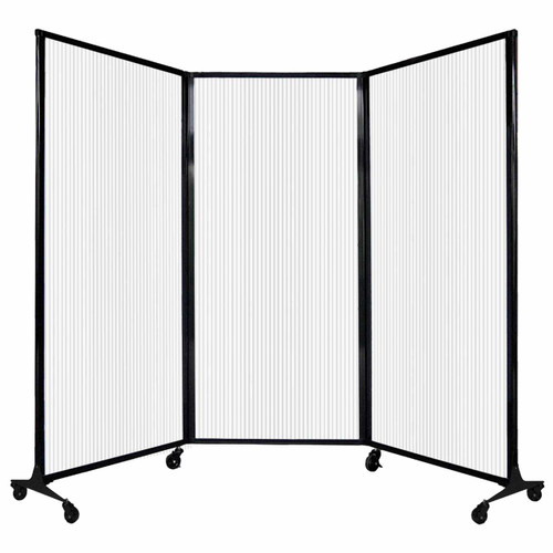 "QuickWall Folding Portable Partition 8'4"" x 5'10"" Opal Polycarbonate"