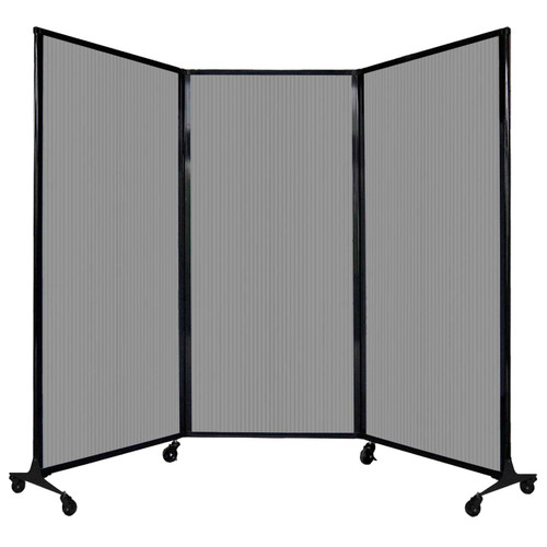 "QuickWall Folding Portable Partition 8'4"" x 5'10"" Light Gray Polycarbonate"