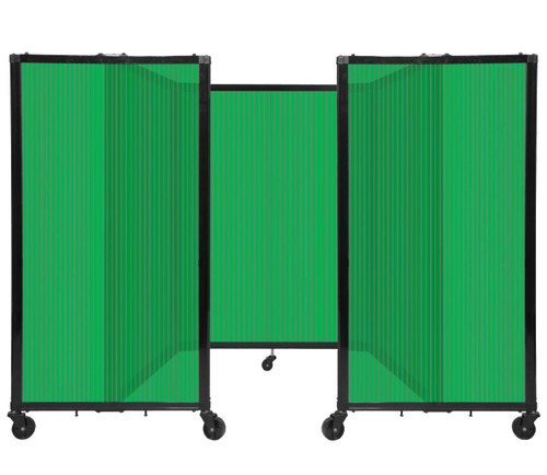"""Room Divider 360 Folding Portable Partition 8'6"""" x 4' Green Fluted Polycarbonate"""