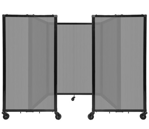 """Room Divider 360 Folding Portable Partition 8'6"""" x 4' Light Gray Fluted Polycarbonate"""