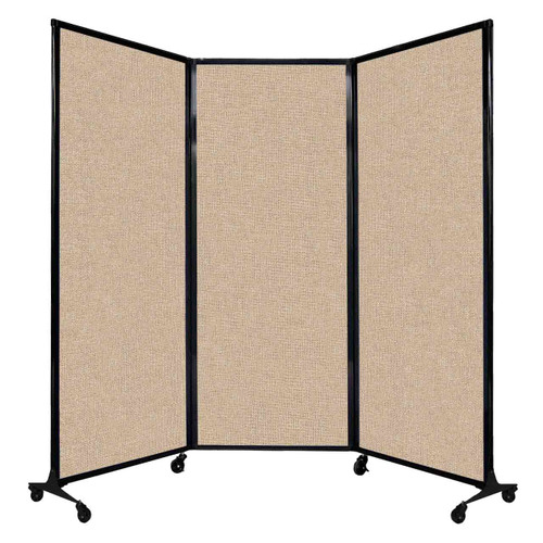 "QuickWall Folding Portable Partition 8'4"" x 6'8"" Beige Fabric"