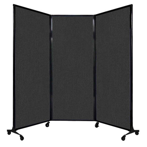 """QuickWall Folding Portable Partition 8'4"""" x 6'8"""" Black Fabric"""