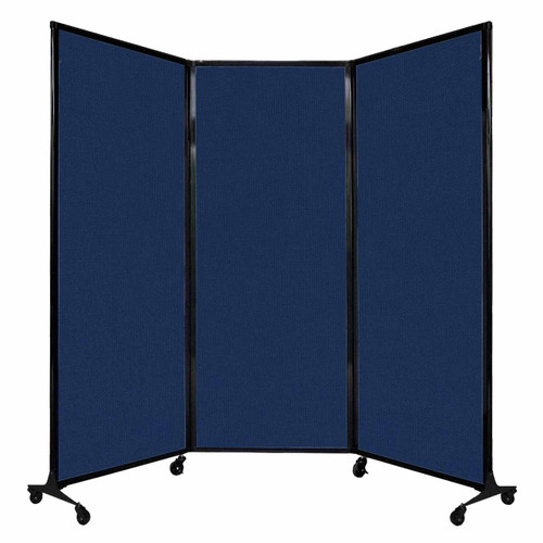 "QuickWall Folding Portable Partition 8'4"" x 6'8"" Navy Blue Fabric"