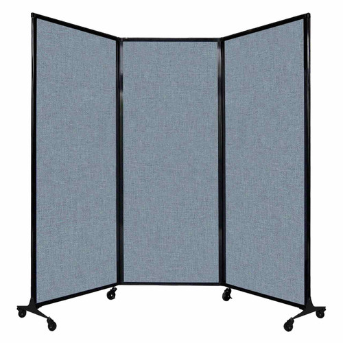 "QuickWall Folding Portable Partition 8'4"" x 6'8"" Powder Blue Fabric"