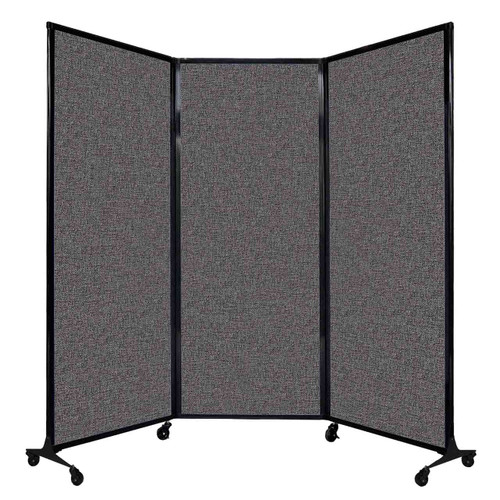 "QuickWall Folding Portable Partition 8'4"" x 6'8"" Charcoal Gray Fabric"