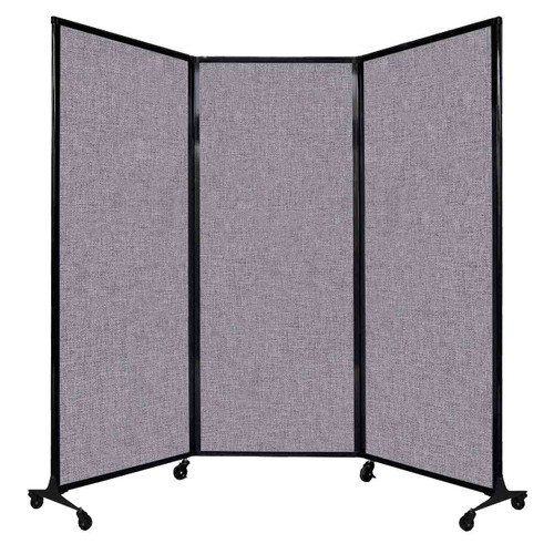 "QuickWall Folding Portable Partition 8'4"" x 6'8"" Cloud Gray Fabric"