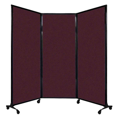 """QuickWall Folding Portable Partition 8'4"""" x 6'8"""" Cranberry Fabric"""