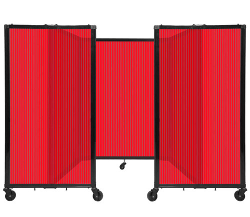 """Room Divider 360 Folding Portable Partition 8'6"""" x 4' Red Fluted Polycarbonate"""
