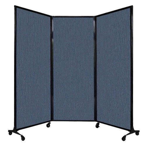 """QuickWall Folding Portable Partition 8'4"""" x 6'8"""" Ocean Fabric"""