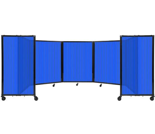 Room Divider 360 Folding Portable Partition 14' x 4' Blue Fluted Polycarbonate