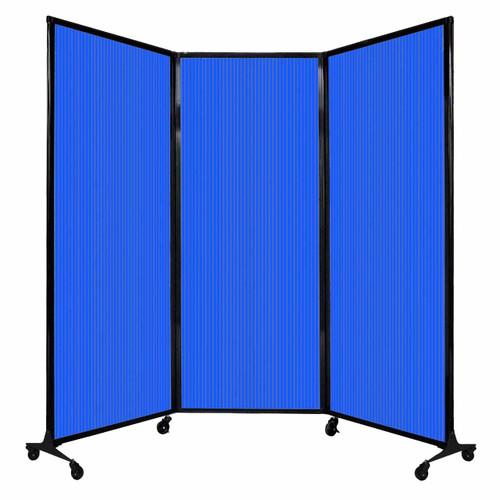 "QuickWall Folding Portable Partition 8'4"" x 6'8"" Blue Polycarbonate"