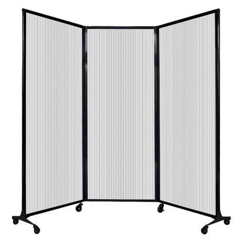 "QuickWall Folding Portable Partition 8'4"" x 6'8"" Clear Polycarbonate"