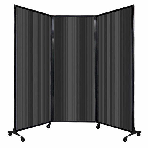 """QuickWall Folding Portable Partition 8'4"""" x 6'8"""" Dark Gray Polycarbonate"""