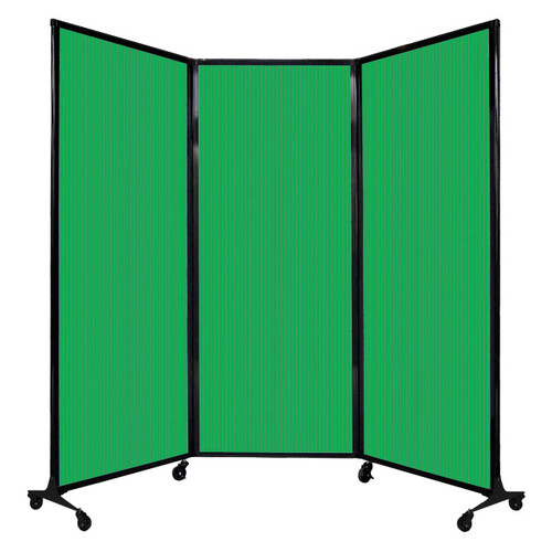 "QuickWall Folding Portable Partition 8'4"" x 6'8"" Green Polycarbonate"