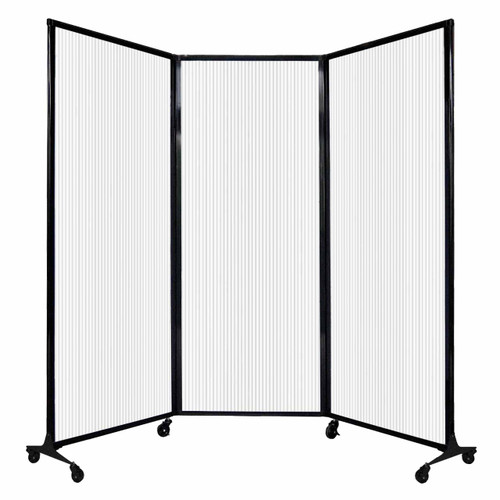 """QuickWall Folding Portable Partition 8'4"""" x 6'8"""" Opal Polycarbonate"""