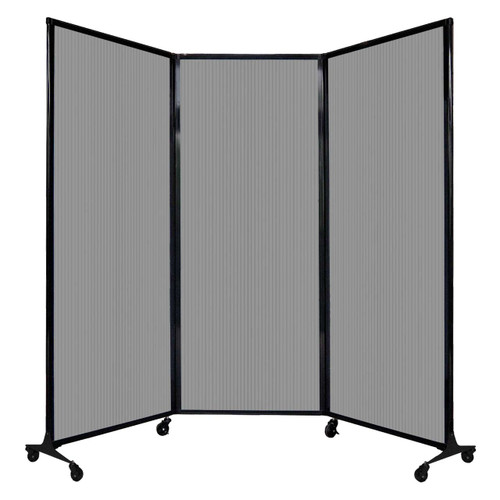 """QuickWall Folding Portable Partition 8'4"""" x 6'8"""" Light Gray Polycarbonate"""