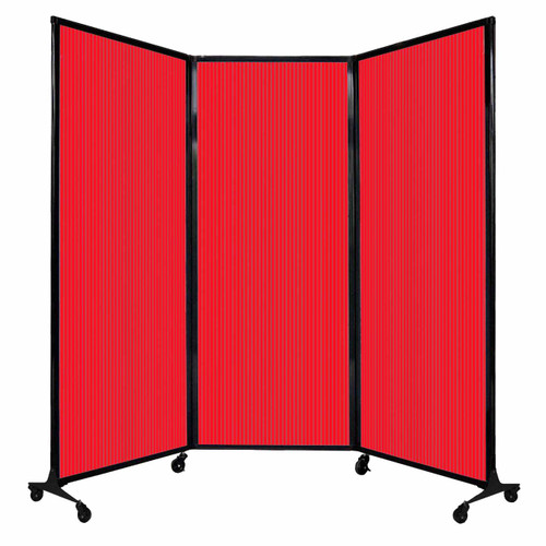 """QuickWall Folding Portable Partition 8'4"""" x 6'8"""" Red Polycarbonate"""