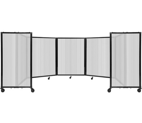 Room Divider 360 Folding Portable Partition 14' x 4' Clear Fluted Polycarbonate