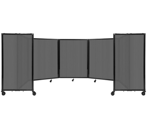 Room Divider 360 Folding Portable Partition 14' x 4' Dark Gray Fluted Polycarbonate