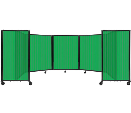 Room Divider 360 Folding Portable Partition 14' x 4' Green Fluted Polycarbonate