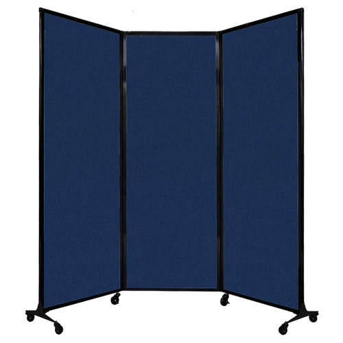 "QuickWall Folding Portable Partition 8'4"" x 7'4"" Navy Blue Fabric"