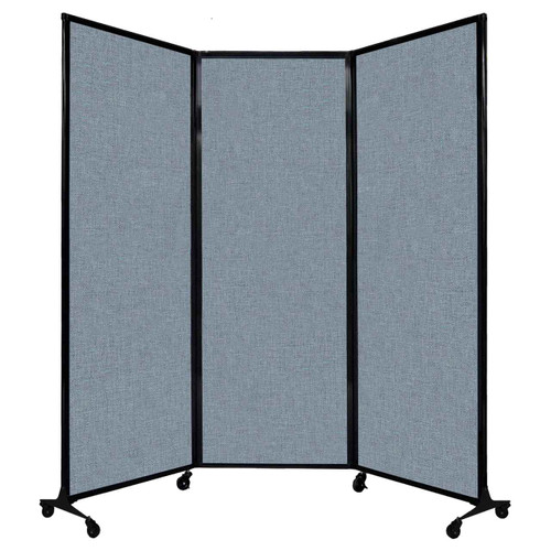 "QuickWall Folding Portable Partition 8'4"" x 7'4"" Powder Blue Fabric"