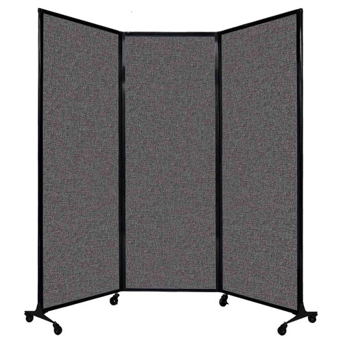 "QuickWall Folding Portable Partition 8'4"" x 7'4"" Charcoal Gray Fabric"