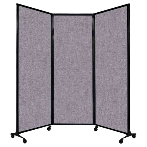 "QuickWall Folding Portable Partition 8'4"" x 7'4"" Cloud Gray Fabric"