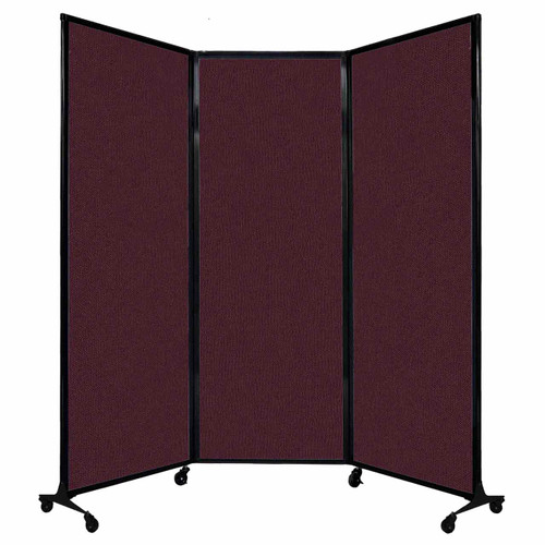 "QuickWall Folding Portable Partition 8'4"" x 7'4"" Cranberry Fabric"