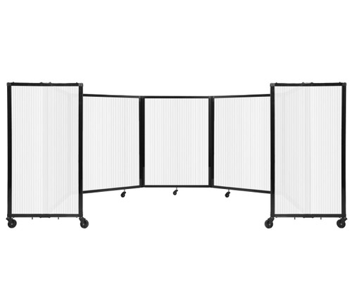 Room Divider 360 Folding Portable Partition 14' x 4' Opal Fluted Polycarbonate